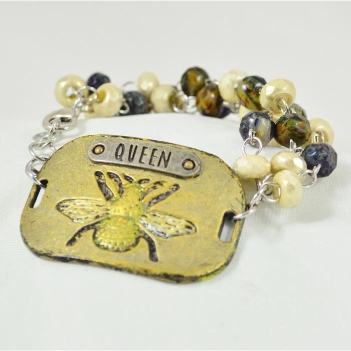 des femmes peintes à la main Entiers Bracelet perles en métal « Reine des abeilles » R8KV0