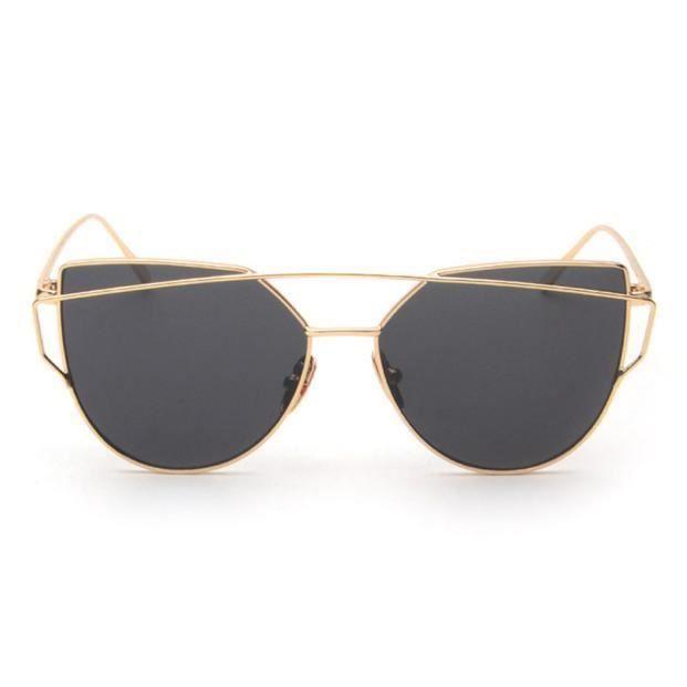 Mode Twin-Beams Classic femmes lunettes de vue en métal miroir dore