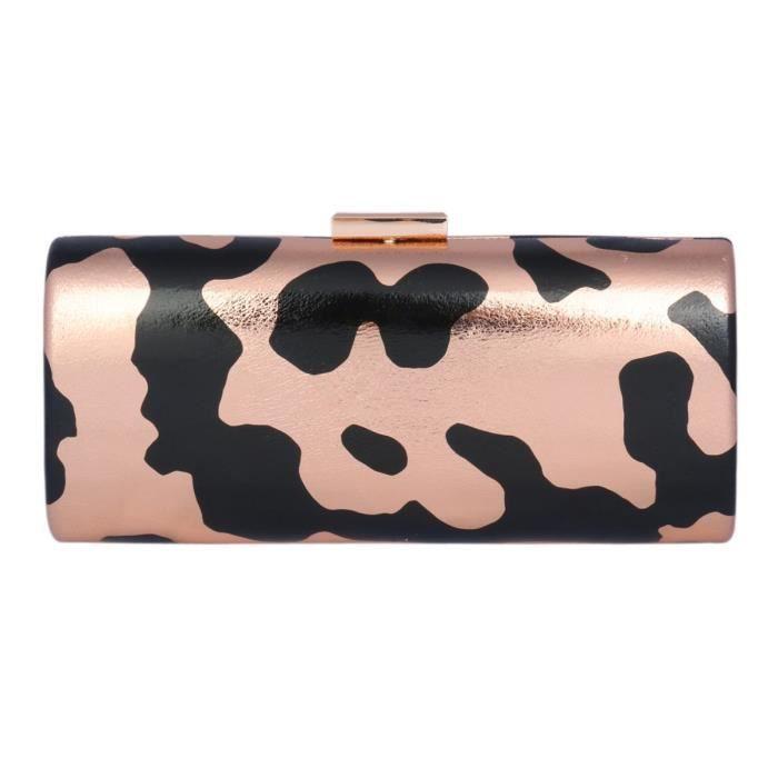 Damara Femme Sac De Soirée Couleur Camouflage Pu Cuir Rectangle Bouton Pression HCQRS