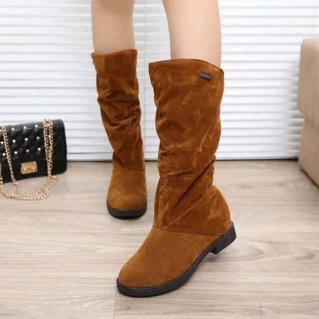 Femmes bout rond Bottes mi génisse mat en cuir Chevalier Bottes Femme boucle carrée Chaussures talon bas Chaussures à talons,noir,40
