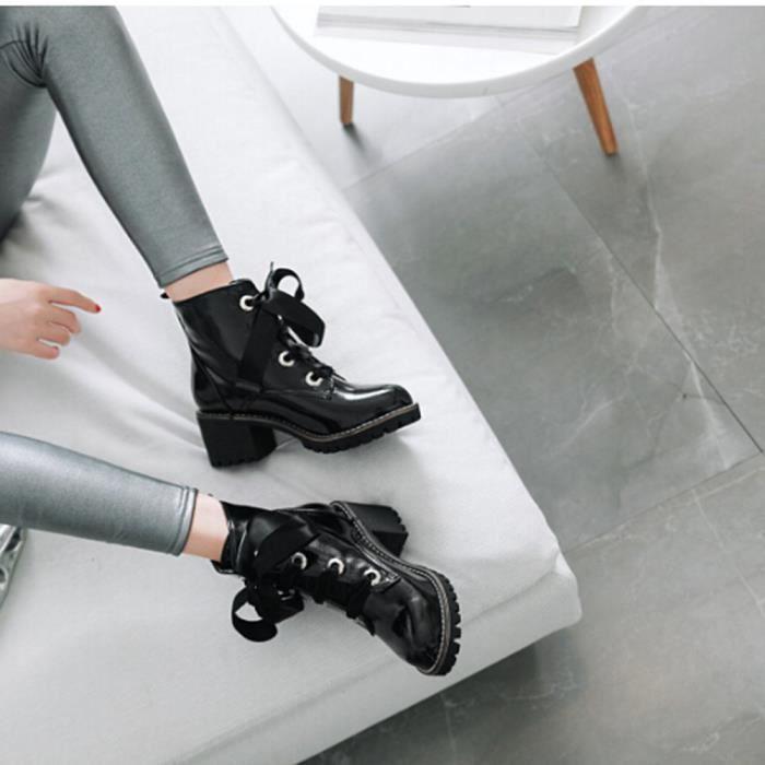 Anti Femme slip Bout En tied Place Croix Chaussures La Talon À Cuir Bottes Qinhig7132 Rond De awqa0YXC