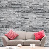 Papier peint effet briques 3D pierre grises 10 x 0,53 m