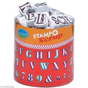 TAMPON DÉCORATIF Kit 54 tampons Stampo'scrap Alphabet crayonné Set