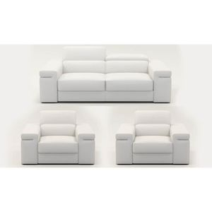 salon complet en cuir achat vente pas cher cdiscount. Black Bedroom Furniture Sets. Home Design Ideas