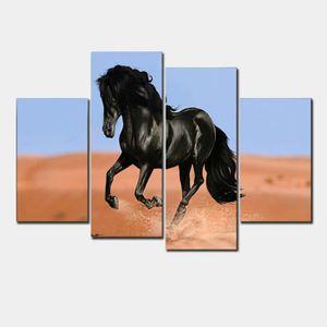 TABLEAU - TOILE 4 pcs / set Imprimé Peinture Cheval noir Peinture
