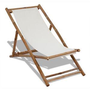 Transat blanc en bambou achat vente chaise longue for Chaise longue bambou