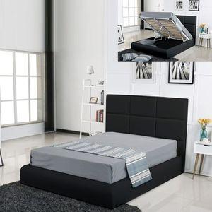 STRUCTURE DE LIT Lit coffre design Alves - Noir - 180x200
