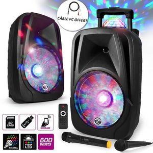 ENCEINTE ET RETOUR Enceinte mobile Sono DJ PA Karaoké 500W 12