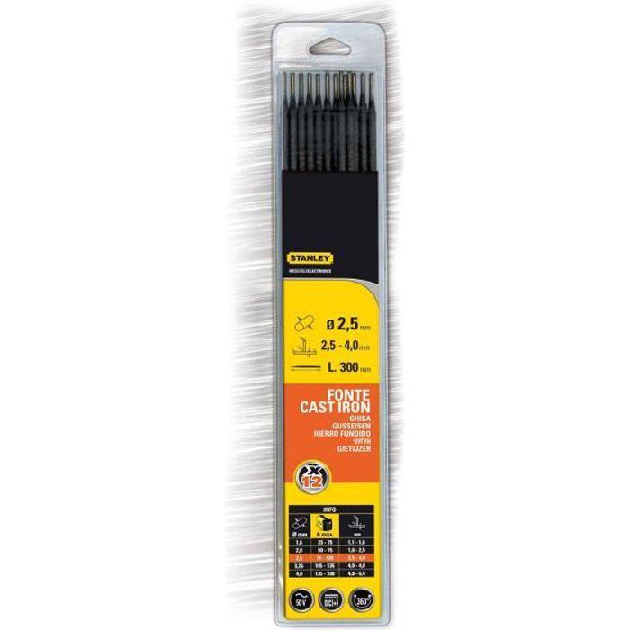 STANLEY 460727 Lot de 12 électrodes fonte - Ø 2,5 mm - L 250 mm - Baguettes de soudure