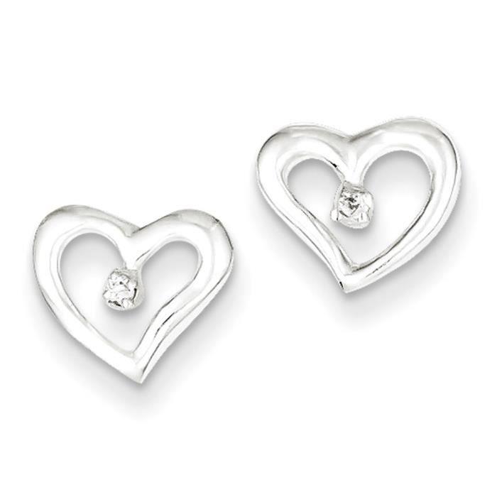 Argent Sterling poli Motif cœur-Boucles doreille