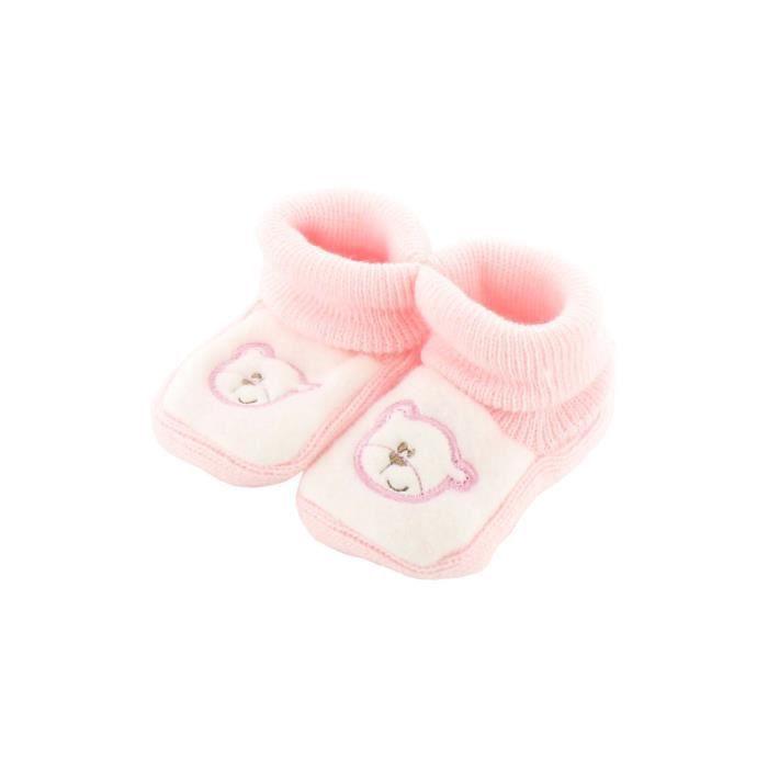 Chaussons pour bébé 0 à 3 Mois rose et blanc - Motif Papa Nounours