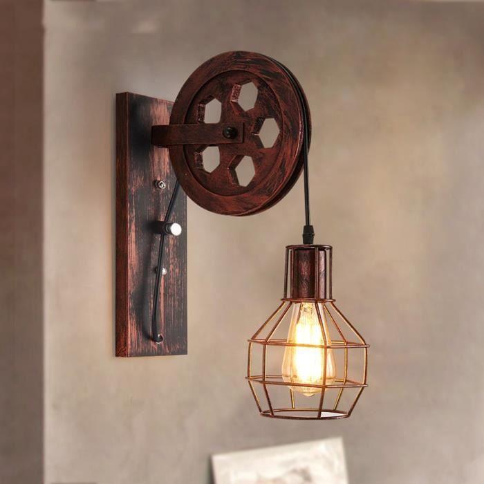 Applique Levage Vintageampoule Poulie Lampe Forme Intérieur Murale 0PkwnO