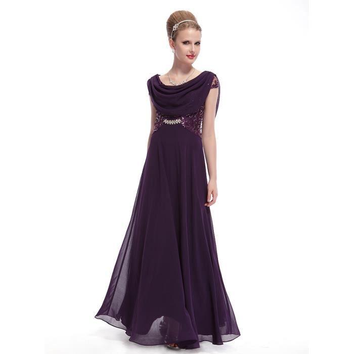 Robe longue drapée Violet marine de Soirée Pailleté Femme