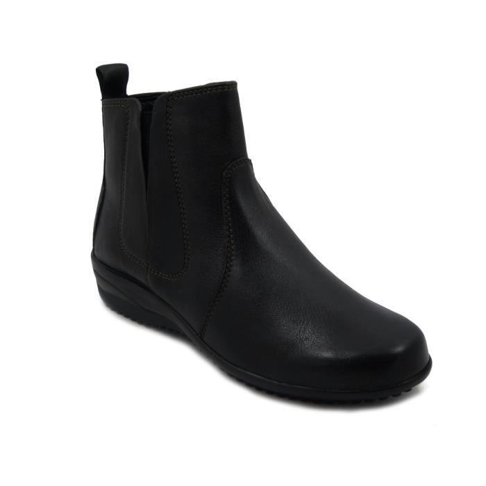 Norwich - Bottine ville confort fermeture zip marque SOFT & FLEX.co by LEH chaussure Homme avec élastique sur le côté cuir noir sUF3v0nzi1