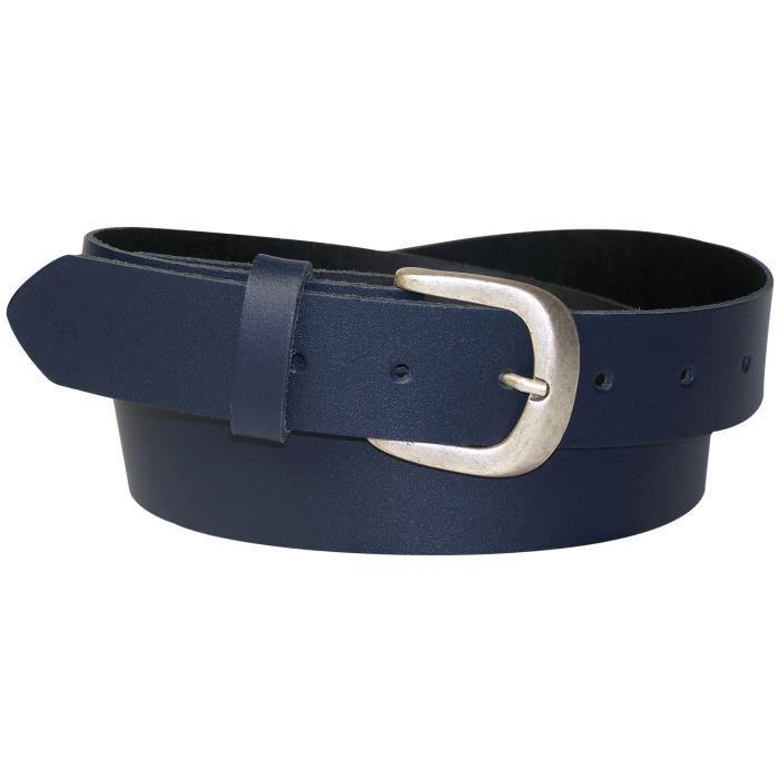 FRONHOFER Ceinture de jean pour femme, ceinture en cuir, ceinture avec une  boucle couleur argent vieilli, ceinture grande taille a136a33189f