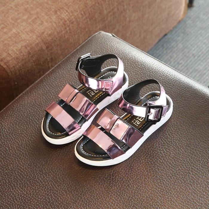 Napoulen®Tout-petits enfants princesse sequins chaussures simples été sandales filles Noeud papillon ROSE-XPP2017355