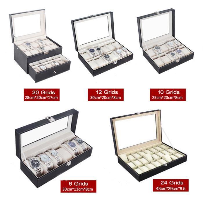 boite a montre cuir achat vente pas cher soldes d s. Black Bedroom Furniture Sets. Home Design Ideas