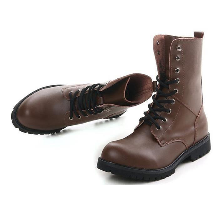 Bottes Martin Casual Vintage Pour Chaussures Hommes Véritable En Cuir vAYfSPqw