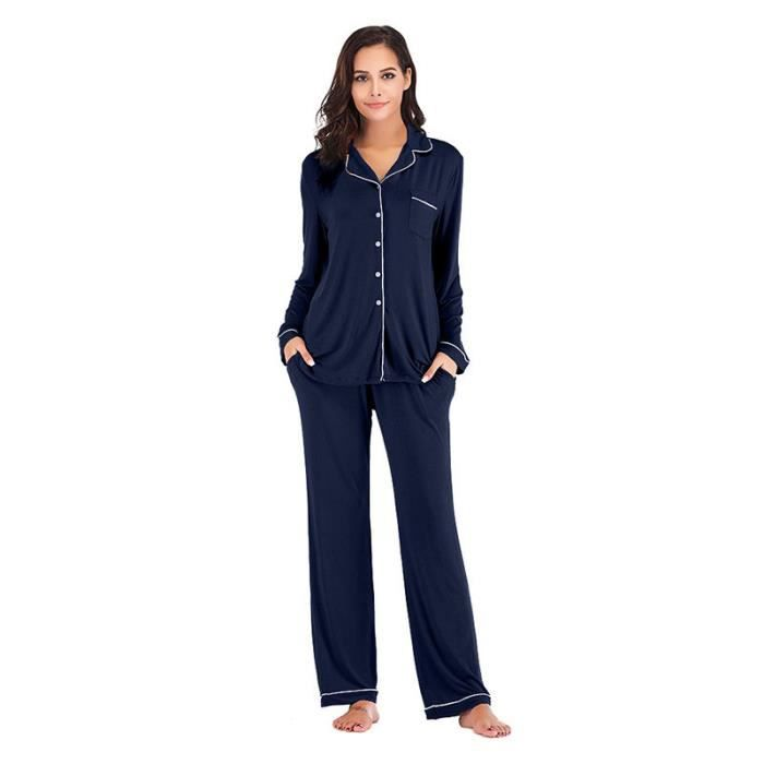 la meilleure attitude 2e5a7 4bfd2 Pyjama Femme Veste+Pantalon Couleur Unie Textile