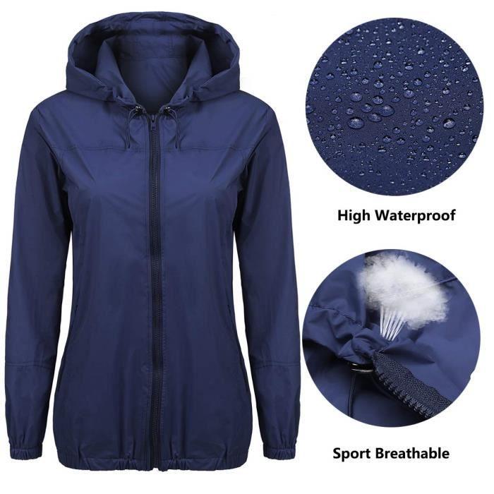 Pluie légère femme Veste imperméable Capuche Mode Outdoor pluie Manteau S xxl J61LN Taille 34