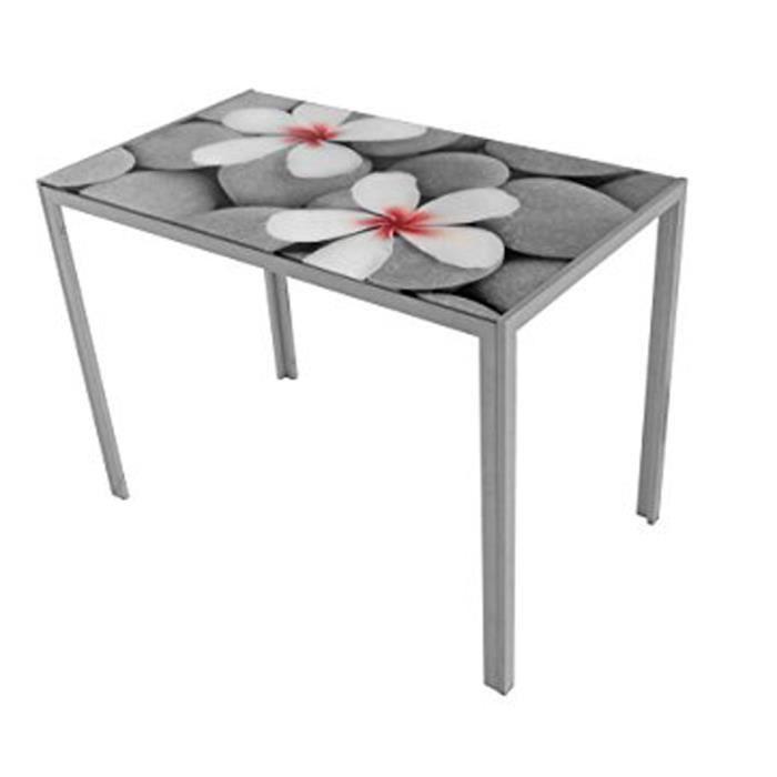 Table De Cuisine Motif Zen Fleurs Gris 1050 X 600 X 750 Mm