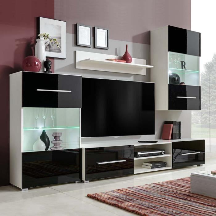 Meuble Tv Complet Avec Led Eclairage 1 Armoire Murale 1 Armoire