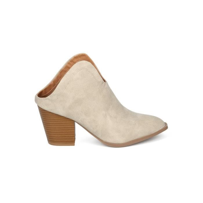 Skaï Pointy Toe Plongeant Bloc Heel Bootie Mule - HF73 Quebecois Collection PGZNX Taille-40