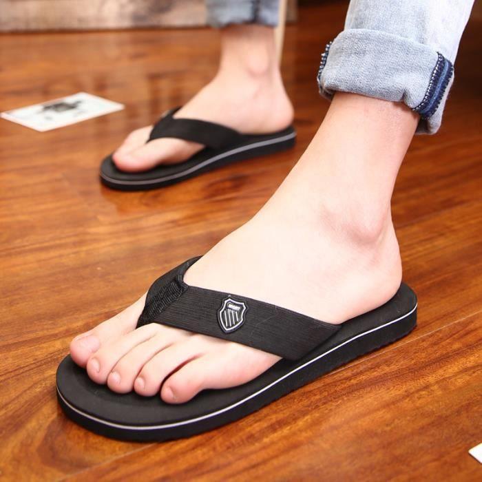 Tongs homme meilleure qualité 2017 nouvelle marque de luxe chaussure Confortable Nouvelle mode chaussure homme plein air noir42 5hvRBtf