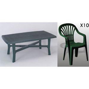 Table ovale verte + 4 fauteuils jardin plastique vert ...