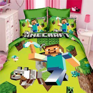 HOUSSE DE COUETTE ET TAIES Parure de lit-Parure de couette Minecraft 1 housse