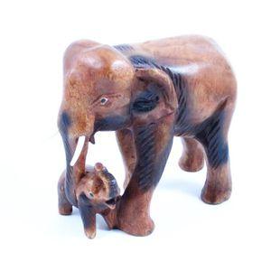 STATUE - STATUETTE Eléphant et son petit sculpté en bois de Suar