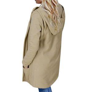 Manteau noir femme col claudine