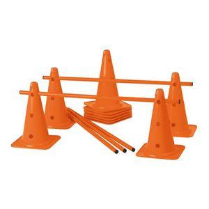 BALISAGE - CONE - PLOT Lot de 10 cônes 12 trous 40 cm et 5 jalons 1 m - O