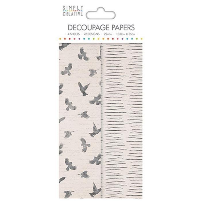 LA FOURMI Papier Découpage - Oiseaux - 18,8x35cm x 4fl. (2x2 modèles)