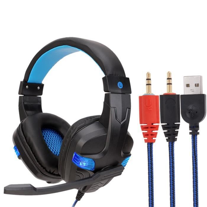 Filaire Usb Led 3,5 Mm Gaming Headset Casque Avec Micro Pour Pc Portable Téléphone Hexq 81
