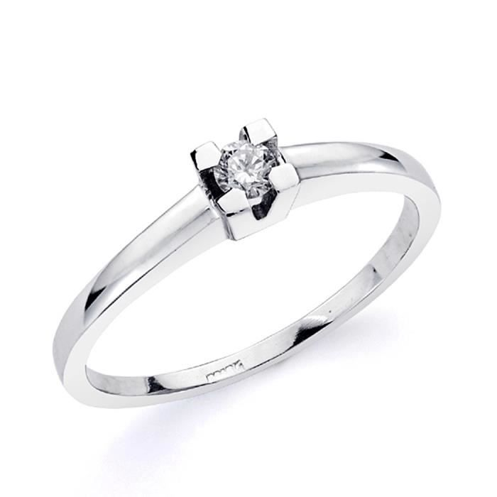 Bague solitaire 18k brillant or blanc [AA0210] - Taille: 53