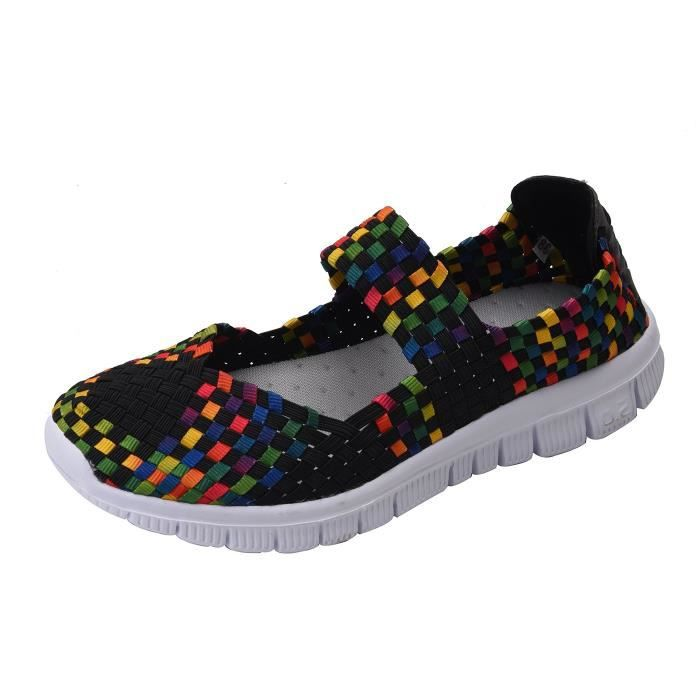 Breathable Stretch Fashion 1 Loafers Walking Mesh Woven 39 Sgk2e 2 Women's Shoes Slip Taille on Sneakers 5wSIYA