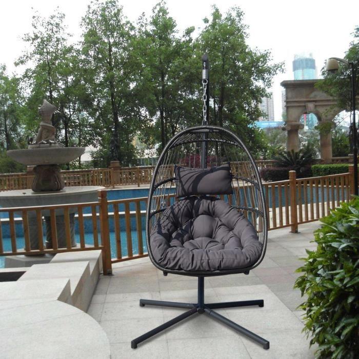 Balancelle de jardin en résine tressée sur pied, hamac, fauteuil suspendu +  coussins