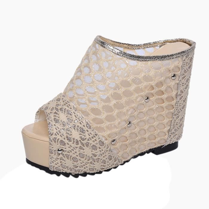 Princesse Femmes Slope Poisson Mot Tête Sexy Mode or Culottes Chaussures Sandales De qrStX8rw
