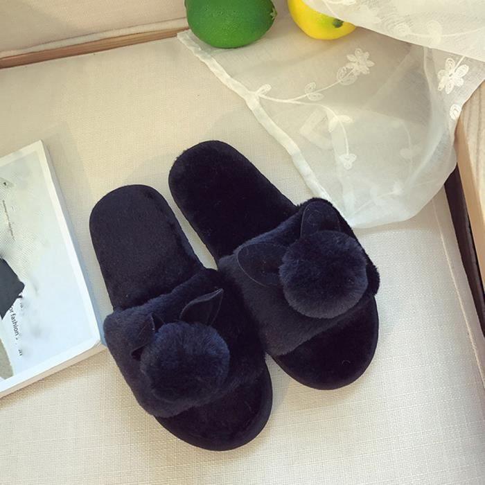 Fausse Plat Benjanies On Slipper En Fluffy Femmes Sandal Flip Flop Mesdames Slip noir Fourrure Sliders 8w6YRgq