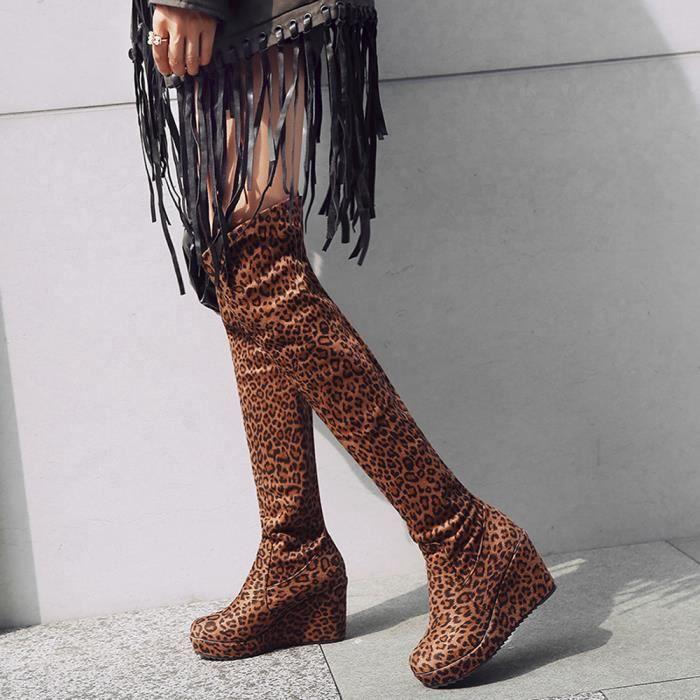 Femmes Chaussures Imprimé À Compensées Élastique Force Bottes Longues Jaune Bout Rond Léopard Mode rtqwZY1cxr