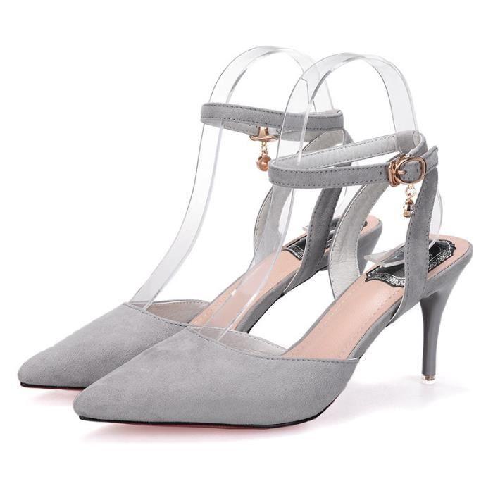 Designer Shoes en cuir véritable Escarpin Sandales d'été en peau de mouton avec boucle cheville sandales à talon mince dames TAAuh