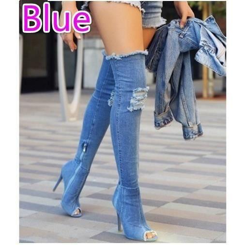 Femmes Mode Cuissardes Denim ouvert Toe Shoes Stiletto Bottes Lady Casual Cuissardes Talons minces,noir,6.5