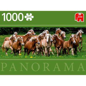 PUZZLE Puzzle 1000 pièces panoramique : Chevaux Haflinger