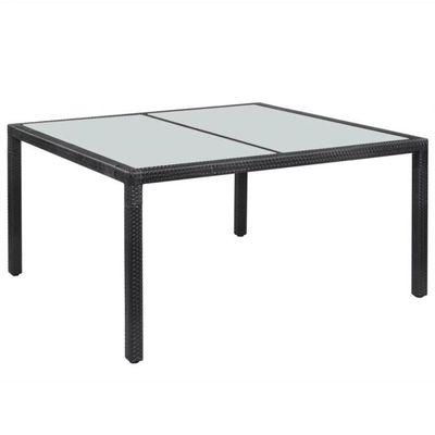 Haute qualité Table de jardin Résine tressée 150 x 90 x 75 cm Noir