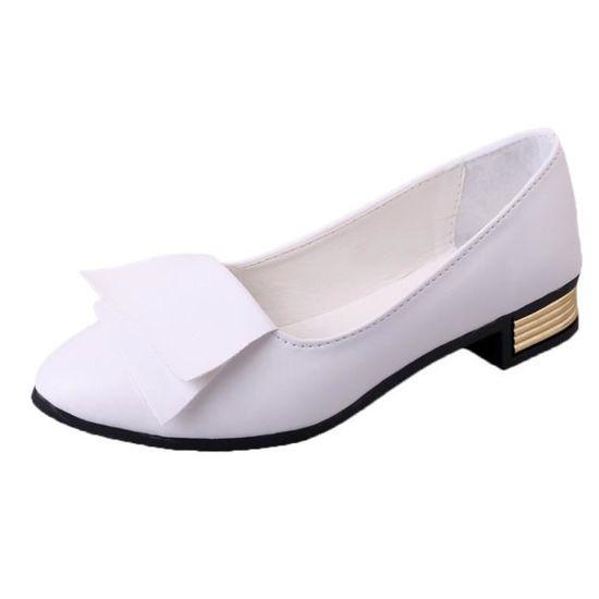 Femmes Bureau d'été Chaussures Escarpins Bureau de mariage Lady Dress Chaussures Slip Pointu   White  White - Achat / Vente slip-on