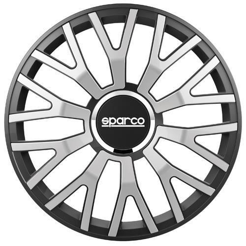 SPARCO Lot de 4 Enjoliveurs Leggera Pro 13'' - Gris argenté bord Noir