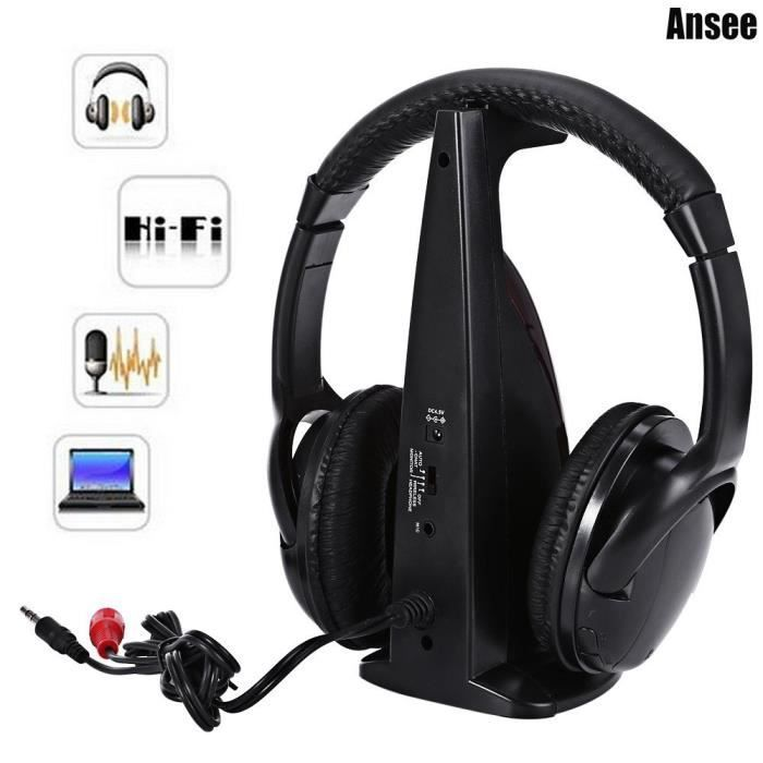 multifonction 5 en 1 casque hifi couteur sans fil wired over ear headset support canal tv full. Black Bedroom Furniture Sets. Home Design Ideas