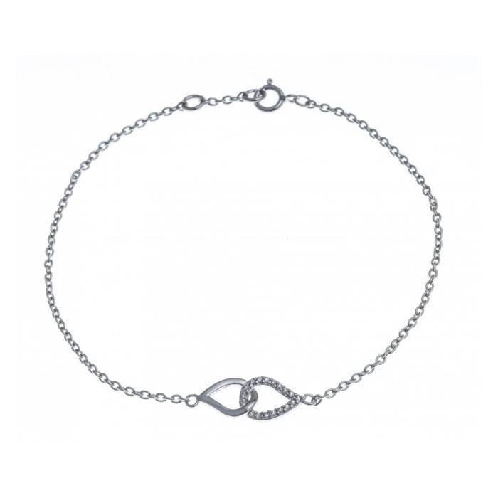 Bracelet argent rhodié - zircons - 17,5+1cm Gris