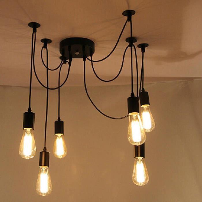 D'étude Vintage Rétro Lustre Lampeapplique 6 Décoration Maison La Plafond Mangersalle À Pour Salonsalle Ampoules De IWH29ED